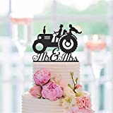 Mr Mrs Farmer Southern Style Wedding Cake Topper Tractor Lawn Deer Cake Topper Solid Color Cake