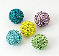 Pandahall 100-piece Pave Disco Ball Beads Polymer Clay Rhinestone Beads Grade A Round Mixed Color