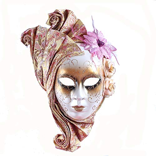 Lady Mardi Gras Venetian Style Carnival Mask Wall Decor(Yellow)