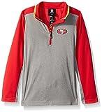NFL Youth Boys Matrix 1/4 Zip Top-Light Charcoal-M(10-12), San Francisco 49ers