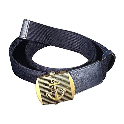 Gucci Brass Anchor Buckle Canvas Belt 375191 Navy Blue