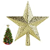 Image of NICEXMAS Christmas Tree Toppers Star Treasures Glittered Decoration Ornament, 9 inch (Gold)