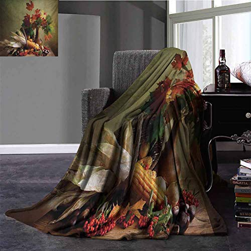 Harvest Silky Soft Plush Blanket Photograph from Death of The Nature Season Fall Vegetables and Leafs Wooden Table Winter Warm Blanket Full Size Multicolor 70x90 Inch