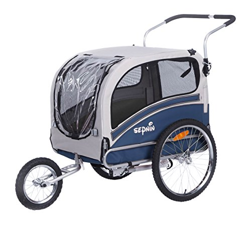 Sepnine Pet Fog Bike Trailer, Blue/Grey by Sepnine
