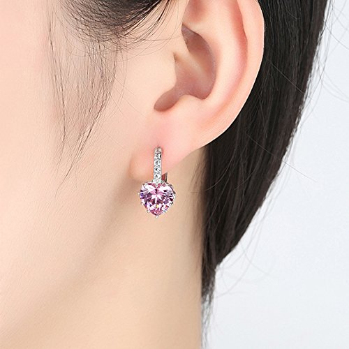 Pink Brilliant Earring - Rurah Stylish Simplicity Heart Shaped Brilliant Cubic Zirconia Earring Clips,Pink