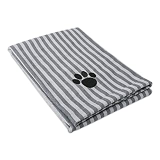 "DII Bone Dry Microfiber Dog Bath Towel with Embroidered Paw Print - 44x27.5"" - Gray Stripe"