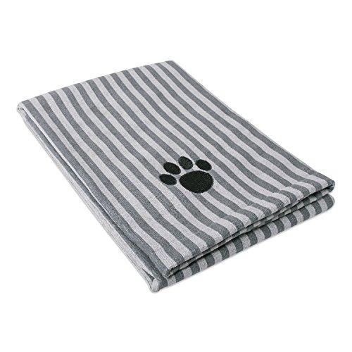 DII Bone Dry Microfiber Dog Bath Towel with Embroidered Paw Print - 44x27.5 - Gray Stripe