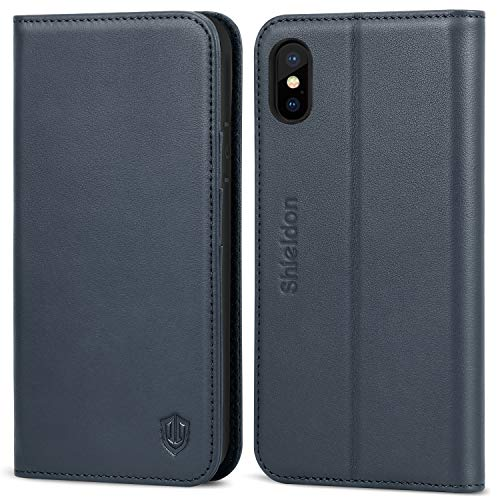 SHIELDON iPhone Xs Case, Genuine Leather Wallet Case [Auto Sleep/Wake] [Folio Cover][Stand Feature] Magnetic Protective Case with Card Slot + Side Pocket Compatible with iPhone Xs - Dark Blue