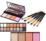 Vodisa 20 Color Professional Makeup Palette with Eyeshadow, Bronzer, Blush, Brush and Mirror Waterproof Nature Glow Matte Eye Shadows Kit with 6pcs Make Up Brushes Cosmetics Shimmer Eye Shadow Pallets