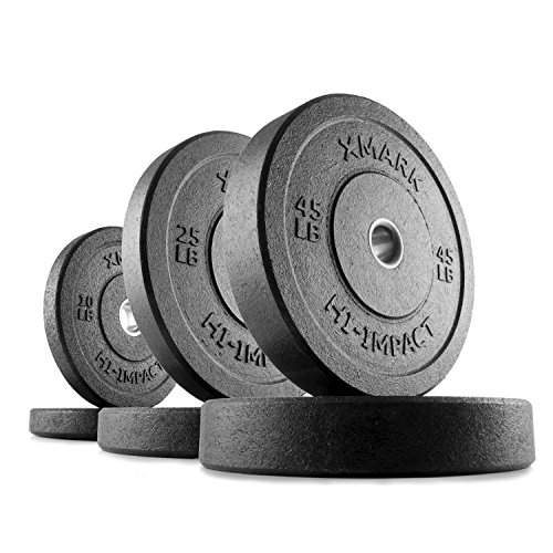 XMark HI-Impact 160 lb. Olympic Bumper Plate Weight Set, Virtually Indestructible Bumper Plates, Superb Craftsmanship, Weightlifting, Strength Training, Powerlifting, Conditioning