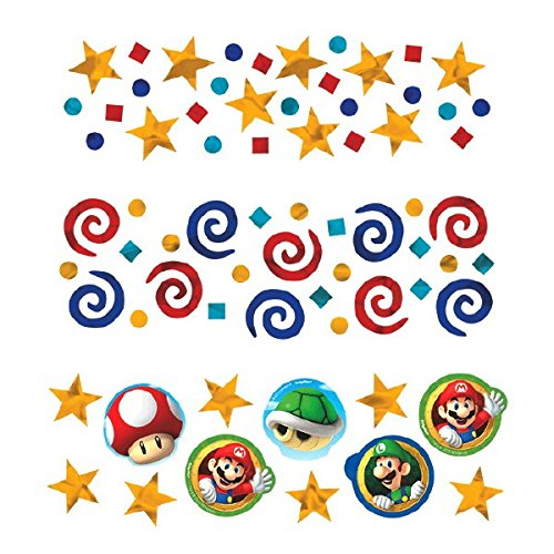 Super Mario Brothers  Birthday Party Confetti Mix Value Pack Decorations, Foil, 1 2 Ounces (Super Mario Day)