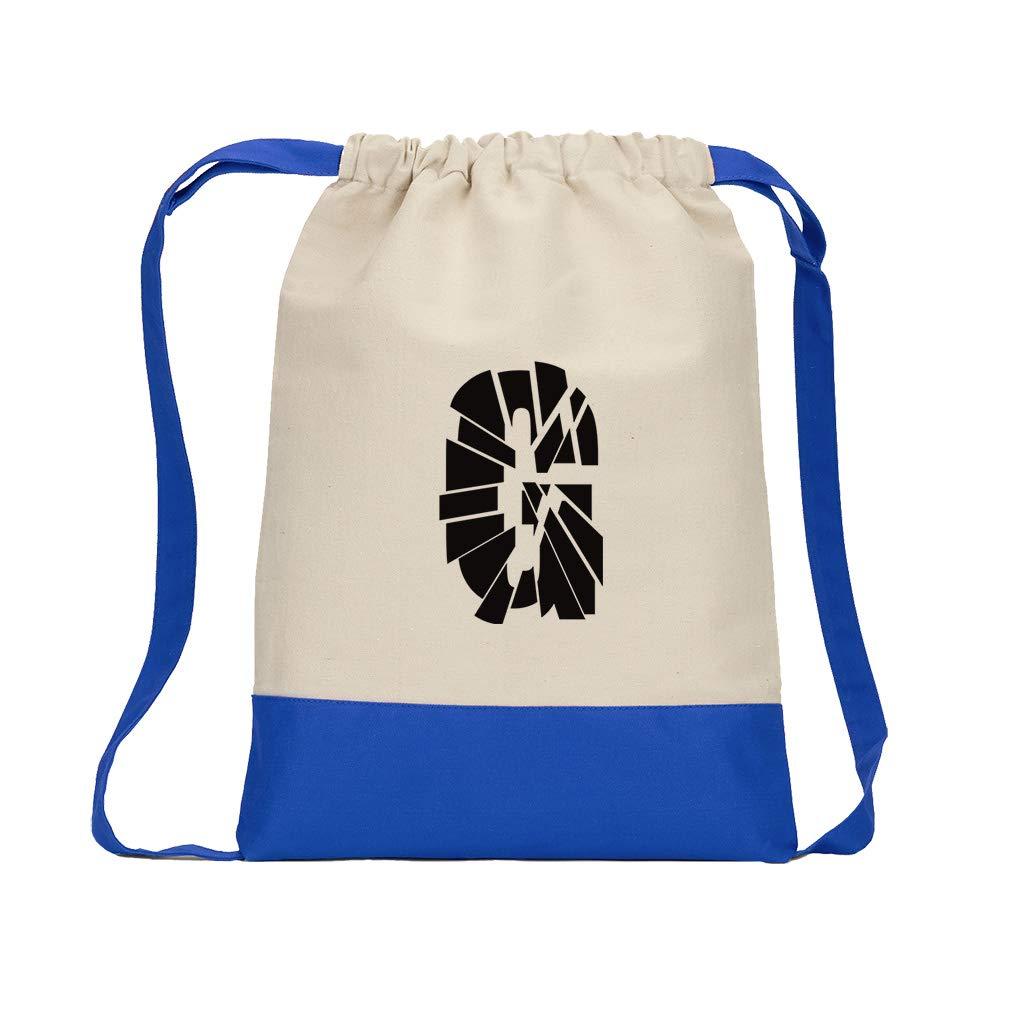 ''G'' Glass Initial Monogram Letter G Cotton Canvas Boys-Girls Backpack Color Drawstring Bag - Royal Blue