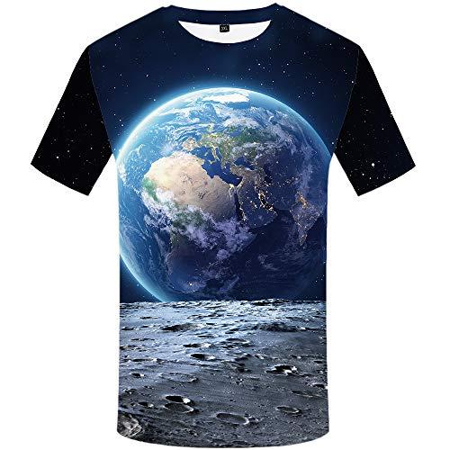 KYKU Moon T Shirt Men Space T Shirts Universe 3D T-Shirts Galaxy Earth Cool Tee (Large)