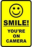 "Outdoor/Indoor 8.27"" high x 5.51"" wide Home Business SMILE YOU'RE ON CAMERA Yellow Window Door Wall Security Warning Alert Sticker Decals **Back Self Adhesive Vinyl**"