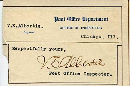 (Vernon Albertie US Postmaster General Inspector Signed Autograph)