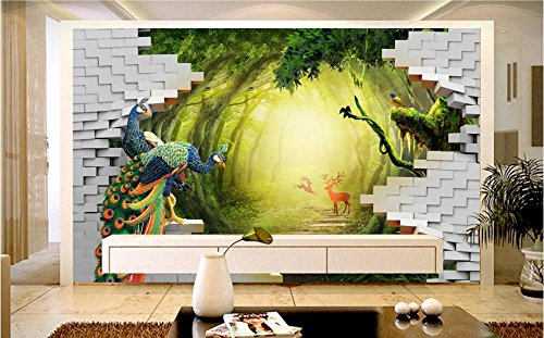LWCX Luxury Wallpaper Custom 3D Mural Wallpaper Secret Garden Peacock Deer Tv Backdrop Wall Murals For Living Room 250X175CM by LWCX (Image #4)