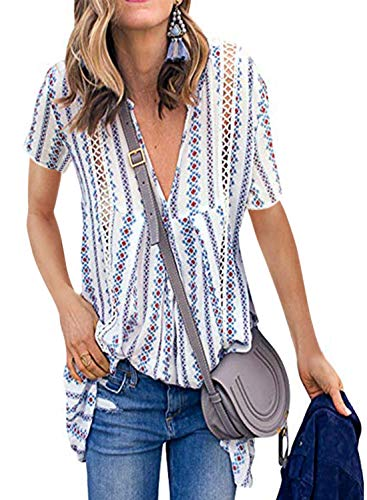 FARYSAYS Women's Summer Floral Print Short Sleeve V Neck Hollow Out Casual Loose Tunic Tops Blouse White Medium