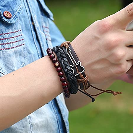 Myhouse Punk Style Vintage Pu Bracelet Woven Bangle for Men Jewelry,Brown
