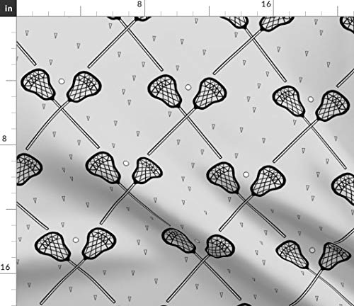 Gray Lacrosse Fabric - Gray Athletic Lacrosse Sport Decor Lacrosse Sport Gray Racket Ball Sports Athletic Print on Fabric by The Yard - Modern Jersey - for Fashion Apparel Clothing with 4-Way Stretch