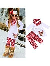 Matoen Baby Girls Christmas Xmas Cartoon Elk Deer Print Dresses+Pants+Scarf 3pcs