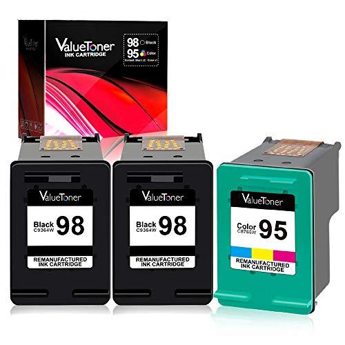 Valuetoner Remanufactured Ink Cartridge Replacement for HP 98 C9364WN & 95 C8766WN for Officejet 150 100 6310, PhotoSmart 8050 C4180 C4150, Deskjet 460 5940 Printer (2 Black, 1 Tri-Color, 3 Pack) (Hp Photosmart 150)