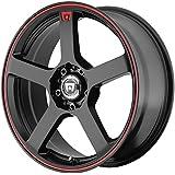 "Motegi Racing MR116 Matte Black Wheel With Red Racing Stripe (17x7""/5x100, 114.3mm, +40mm offset)"
