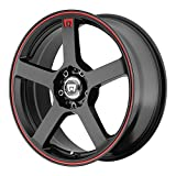 MOTEGI MR116 MATTE BLACK W/RED STRIPE MR116 17x7 4x100.00/4x114.30 MATTE BLACK W/RED STRIPE (40 mm)