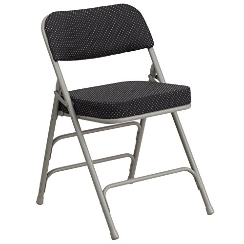 Flash Furniture HERCULES Series Premium Curved Triple Braced & Double Hinged Black Pin-Dot Fabric Metal Folding Chair