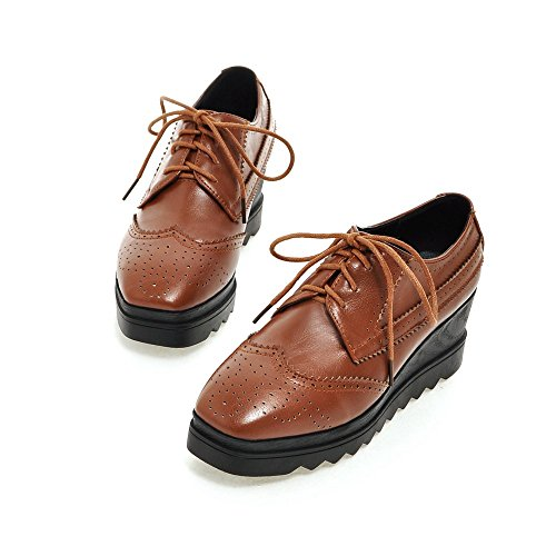 Brown Womens AIWEIYi Classic Lace Shoes Heel Low Oxford Up Flat Dress wOv7Oq