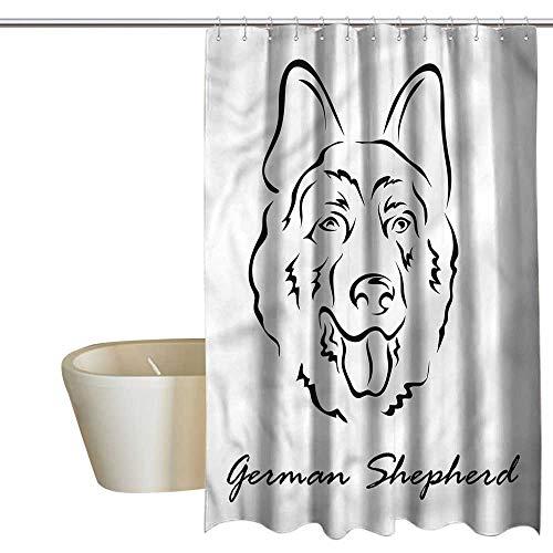 (RenteriaDecor Shower Curtains Cloth for Bathroom German Shepherd,Doodle Portrait,W55 x L84,Shower Curtain for)