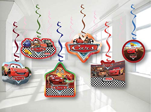 Cars Mc Queen Birthday Party Decor, Hanging Decoration Swirls, Package of 12 Assorted Set