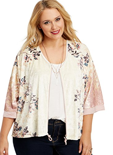 Maurices Women's Plus Size Zip Front Velvet Kimono In Floral Print 2/3 Ivory Combo