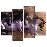 SmartWallArt - Animal Paintings Wall Art three Handsome Galloping Horses Look Like Run Out of Greek Mythology 4 Panel Picture Print on Canvas for Modern Home Decoration