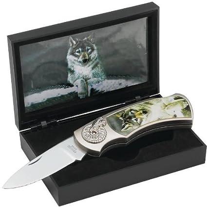 Amazon.com: Maxam Lockback Cuchillo con los Wolf Inlay ...
