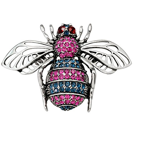 Botrong Brooches for Women, Fashion Chic Crystal Rhinestone Bee Retro Bronze Brooch Artificial Diamond Jewelry (Silver)