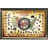 MLB Minnesota Twins Major League Baseball Parks Map 20x32 Framed Collage with Game Used Dirt From 30 Parks