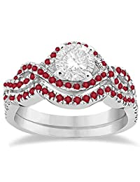Ruby Infinity Halo Engagement Ring and Band Set Palladium (0.60ct) (No center stone included)