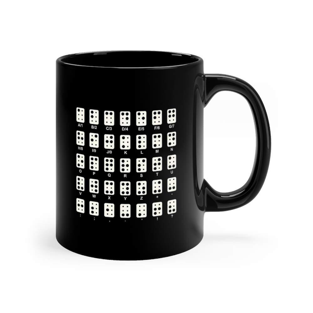 Braille Alphabet Icons White Series Semicolon Funny Mugs Cups Ceramic 11 Oz