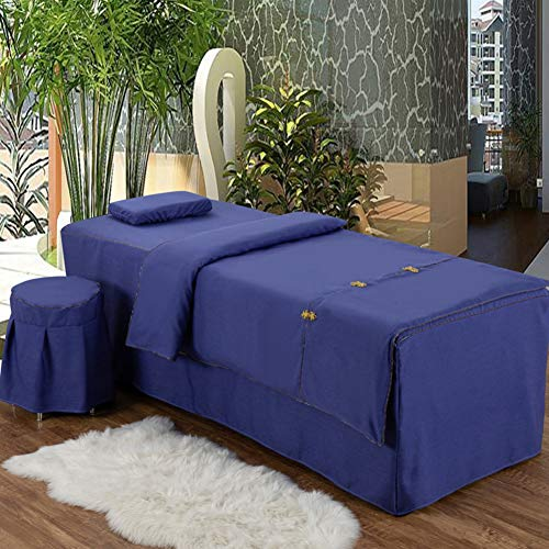 ynh Printing Massage Sheet Sets,Solid Color Linen Beauty Bed Cover 4 Sets Embroidery Table Skirt Massage Bedspreads Set-deep Blue 190x70cm(75x28inch)