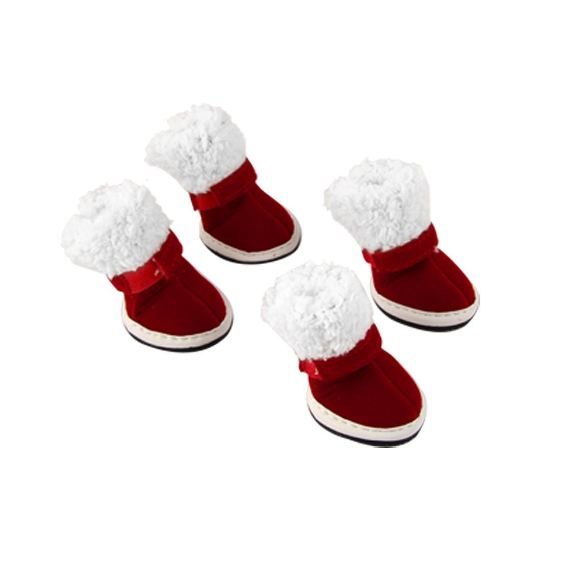 Uxcell Doggy Detachable Closure Christmas Boots Sz 1 Red White