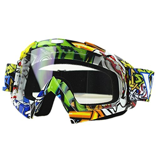 Runspeed Motorcycle Goggles, Motocross ATV Dirt Bike Ski Goggles Windproof Scratch Resistant Combat Goggles Adjustable UV Protective Safety Outdoor Glasses Men Women (Graffiti, Clear)