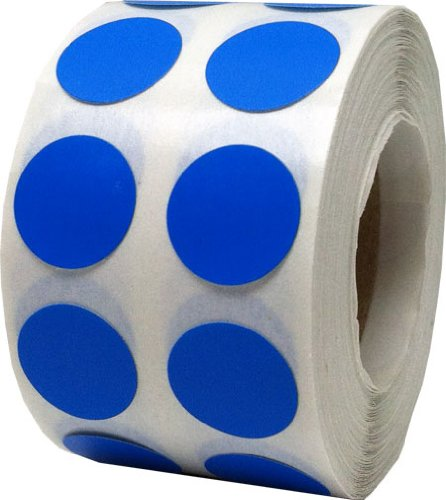 Color Coding Labels Blue Round Circle Dots For Organizing Inventory 1/2 Inch 1,000 Total Adhesive Stickers (1/2 Round Labels)