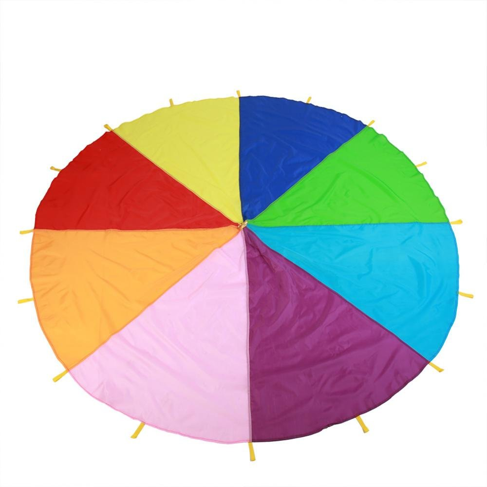Zerodis Parachute Toy, Play Rainbow Parachute with Handles Kids Tent Cooperative Games Birthday Gift for Children Boys Girls(280cm)