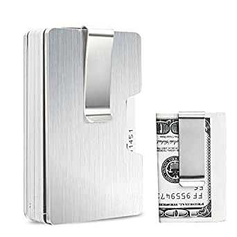 Money clip credit card business card holder slim aluminium metal money clip credit card business card holder slim aluminium metal wallet for women men reheart Images