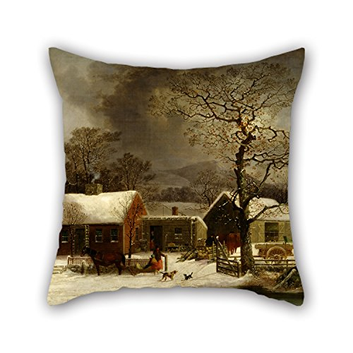 Oil Painting George Henry Durrie - Winter Scene In New Haven, Connecticut Pillowcover 18 X 18 Inches / 45 By 45 Cm Gift Or Decor For Drawing Room Family Girls (Snuggle Leather Loveseat)