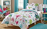Owl Life White Pink Green and Blue Owl Bird Cute Kids Twin Bedding Set (5 Piece Bed in a Bag)