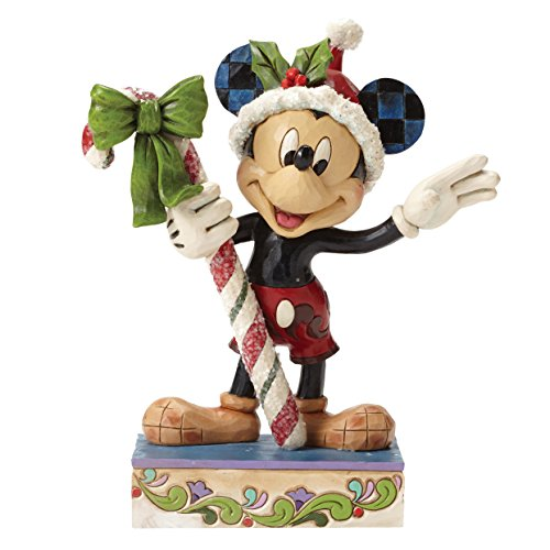 Mickey Mouse Christmas Figurine - Disney Traditions by Jim Shore Christmas Mickey Mouse with Candy Cane Stone Resin Figurine, 6.25""