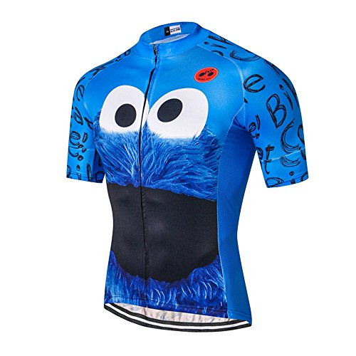 Mens Cycling Jersey Shirt,2018 Short Sleeve Bike Jersey Riding Tops Outdoor MTB Cycling Clothing Eye Blue L ()