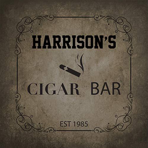 - Personalized Custom Text Store Sign Cigar bar Aluminum Metal Sign, Dark Grey 12