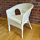 Alfresia Hand-Woven Rattan Bedroom Conservatory Chair with Natural Cushion - Pearl